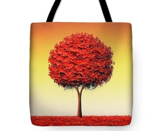 Autumn Tree Tote Bag, Fall Tree Shopping Bag, Red Tree School Bag, Book Bag, Cottage Chic Purse, Hippie Canvas Bag, Boho Shoulder Bag