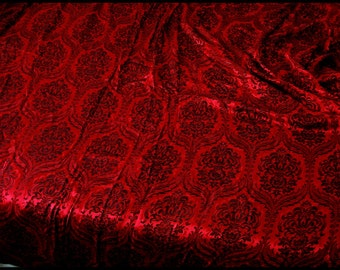 Large Satin Brocade Drape Red Black Satin Brocade