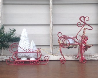 Scrolled Red Reindeer and Sleigh Candle Holder Carrying Bottle Brush Trees / Mantel Decor / Christmas Holiday Table Table Top Decor
