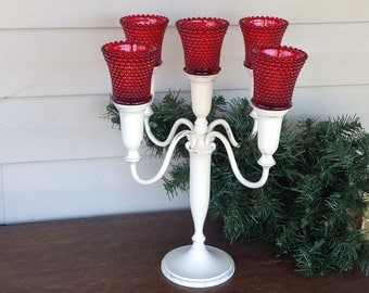 White 4-Arm Candelabra w/ Red Hobnail Votive Cups - Cottage Chic Table Top  Candle Holder - Centerpiece - Christmas
