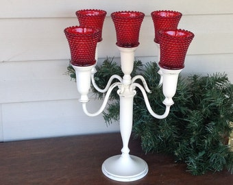 White 4-Arm Candelabra w/ Red Hobnail Votive Cups - Cottage Chic Table Top  Candle Holder