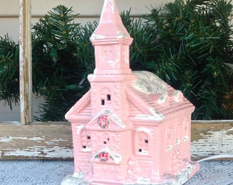 Lighted Country Church - Pink Christmas Holiday Mantel Decoration - Electrical Light Up Decor