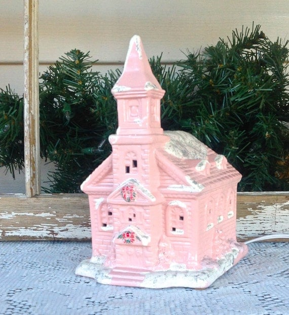 Christmas Church Decoration: Lighted Country Church Pink Christmas Holiday Mantel