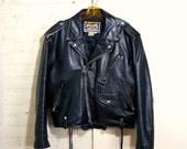 SALE Motorcycle Jacket Vintage 1980s Black Leather Jacket Mens SMALL Sturdy Moto Jacket Multi Zip Side Lacing Pistol Pocket Biker Jacket Avi
