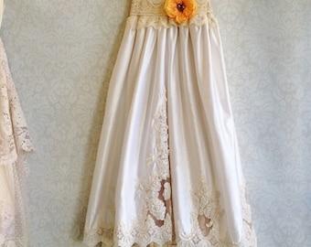 blush cream & white beaded alencon lace satin boho wedding dress by mermaid miss Kristin