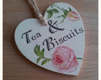 Tea & Biscuits Cupboard Label Hanging Heart