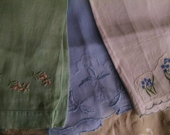 Hand Towel Trio/ Guest Towels/  Embroidered Tea Towels
