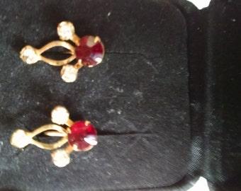 Red Rhinestone Screw-Back Earrings
