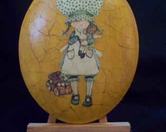 Vintage Holly Hobbie Handmade Mod Podge Plaque with Easel circa 1960s