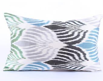Ikat Pillow Cover, Decorative Pillows,  Couch  Pillows, Ikat Pillowcase, Silk, Eclectic Home Decor