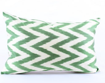 Green White Zigzag Silk Ikat Pillow Cover Decorative Throw Pillow Case Cushion Cover Decor Modern Pillow Cover Zigzag Green Ikat Pillow