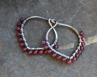 Garnet Sterling Hoops, Petal Hoop, Oxidized Silver, Fairy Petal, Sterling Silver, Wire Wrapped Hoop, January Birthstone, Lightweight Earring