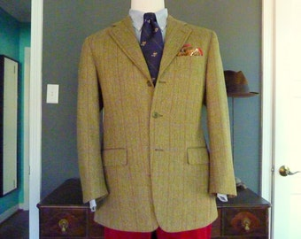 FANTASTIC Vintage Paul Stuart Windowpane Herringbone Weave Trad / Ivy League Sport Coat Tweed Jacket Size 42 Regular.  Made in USA.