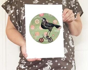 Huia on a Bike Tondo Art Print