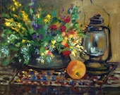 Oil painting with summer flowers , lamp and an orange. Original oil painting. Ready to ship.