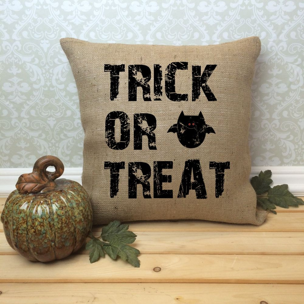 Cute Pillow Treats : Halloween Pillow Cover Trick or Treat Rustic Halloween Home