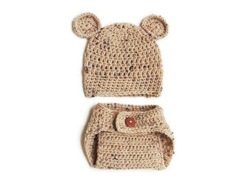 Crochet Bear Hat and Diaper Cover set, Perfect Baby Photo Prop, Multiple Colors