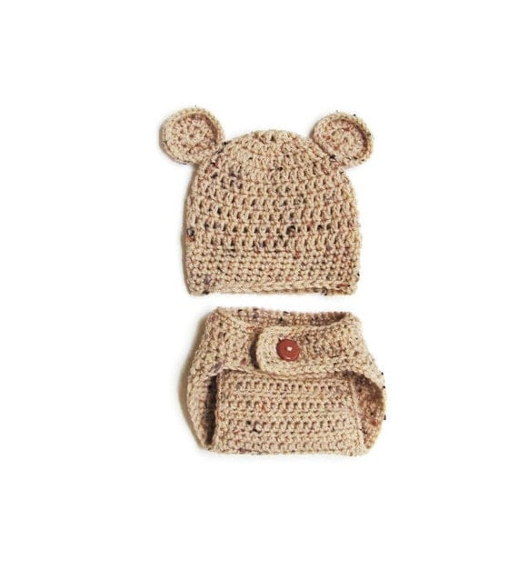 Crochet Bear Hat and Diaper Cover, Perfect Baby Photo Prop, Multiple Colors