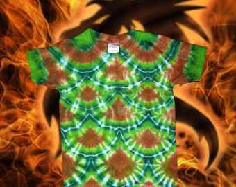 Green and Gold Dragon Scales tie-dye tee for kids