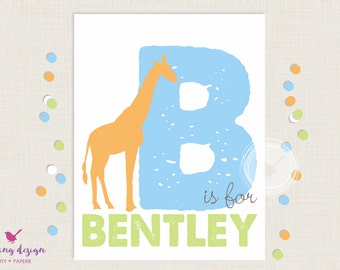 Personalized Art Print | Nursery Art | Name Art | Safari Art Print | Giraffe Art Print