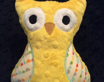 Yellow Minky Owl, CLEARANCE SALE