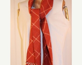 """60% OFF Clearance Sale Vintage Russet Fringed and Cream Wool Scarf 72"""" Long"""