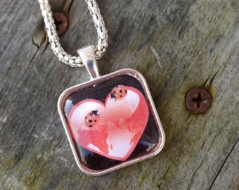 Valentines day, Valentines gift, Glass heart pendant, Heart necklace, Glass tile pendant, Heart pendant, Valentine, Gifts for girls