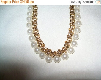 50% OFF Goldtone bead necklace, vintage goldtone chain and bead necklace