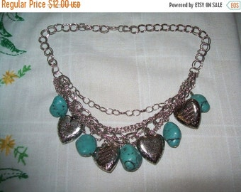 SALE 50% Off Vintage chunky bead heart bib necklace, statement necklace with all my heart