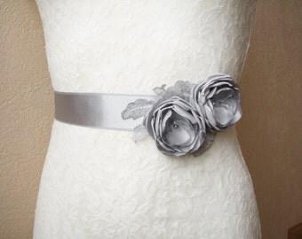 Gray Sash, Bridal Belt, Bridesmaid Dress Belt,  Floral Wedding Accessory, Gray Wedding, Melisa