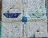 Whimsical Frog Sailboat mini quilt