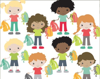 Kids with Backpacks Clip Art -Personal and Limited Commercial Use- back to school clipart