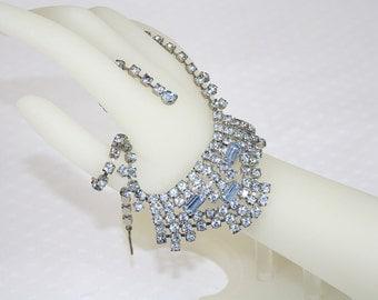 Sky Blue Rhinestone Bib NecklaceVintage 1950s Wedding Special Occasion Statement Necklace