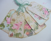 Vintage Rose Gift Hang Tags, Cottage Chic Gift Tags, Gift Bag tag, Pink Roses, Butterflies, Floral Tag, Weddings, Wine Tags, Birthday Tags