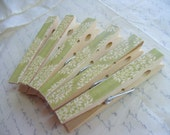 Decorative Clothes Pins, Green Floral Paper, Wooden Peg, Large Clothes Pin Magnets, Magnet Picture Clip, Ornaments, Natural Color Pins, Pegs