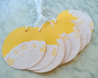 Yellow and Lace Gift Tags, Hang tags, Party Tags, Birthday Gift Tags, Christmas Tags, Wedding Tags, Wine Bottle Tags, Mason Jar Tags