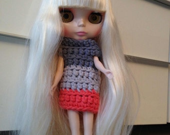 Doll with blond hair in a crochet dress + articulated body -HOLD for M