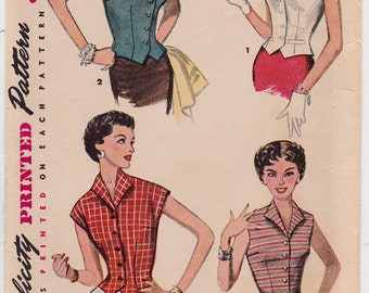 FF 50s Bust 29 Junior Misses' Blouse Vintage Sewing Pattern [Simplicity 4533] Size 11, UNCUT