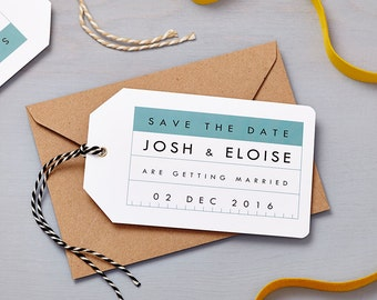 Retro Schoolhouse Blue Save The Date Tag