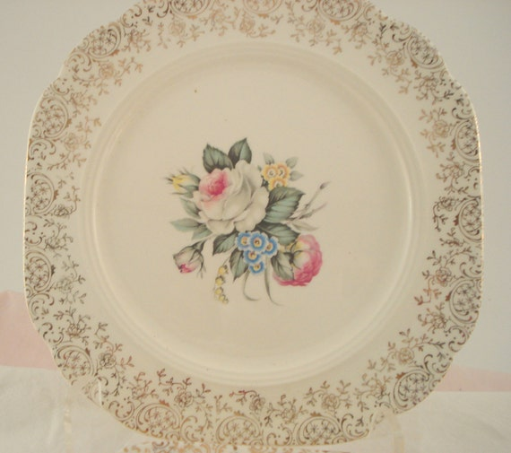 Vintage Wedding Luncheon Plates Salem China Royal Rose Bouquet