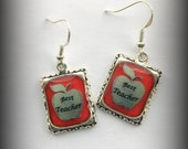 Teacher Apple Earrings Jewelry Red White 3D Dimensional Silver Picture Best