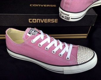 Purple Converse Low Top Custom Glass Slippers w/ Swarovski Crystal Powder Lavender Lilac Chuck Taylor Converse All Star Bling Sneaker Shoes