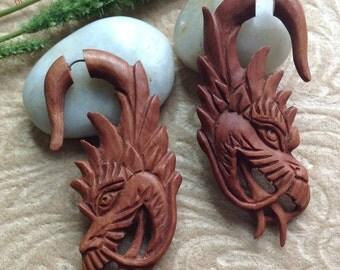 "Fake Gauge Earrings, ""Terra Cotta"", Dragon,  Natural, Saba Wood, Handcrafted, Tribal"
