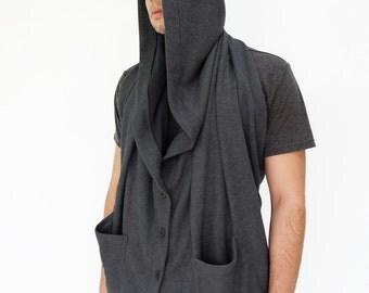 NO.128 Dark Grey Cotton Blend Hooded Scarf, Button Front Shawl, Versatility Cape, Unisex Scarf
