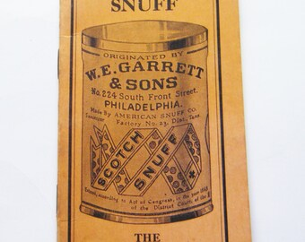 1930's Garrett's Snuff Advertising Booklet with Calendars From 1938 And 1939 A Pickers Table and Notebook