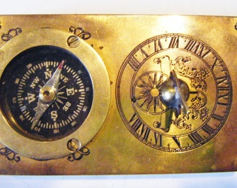 Rare Antique Solid Brass Heavy Sundial Compass Maritime Nautical Paperweight Working