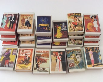 Lot of 6 Retro Old Tyme Posters Matchboxes- Matchbox Storage Advertising Packaging- Instant Collection