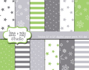 digital scrapbook papers - green and gray snowflake, star and stripe patterns - INSTANT DOWNLOAD