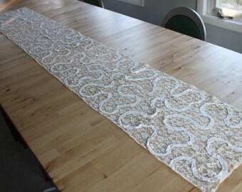 "Ornate vintage lace table runner, multiple layers of lace, 85"" long 14"" wide, Vintage Lace Table Runner, Antique white Bright white"