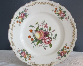 Vintage Homer Laughlin Plate with Fruit and Roses C45 N8